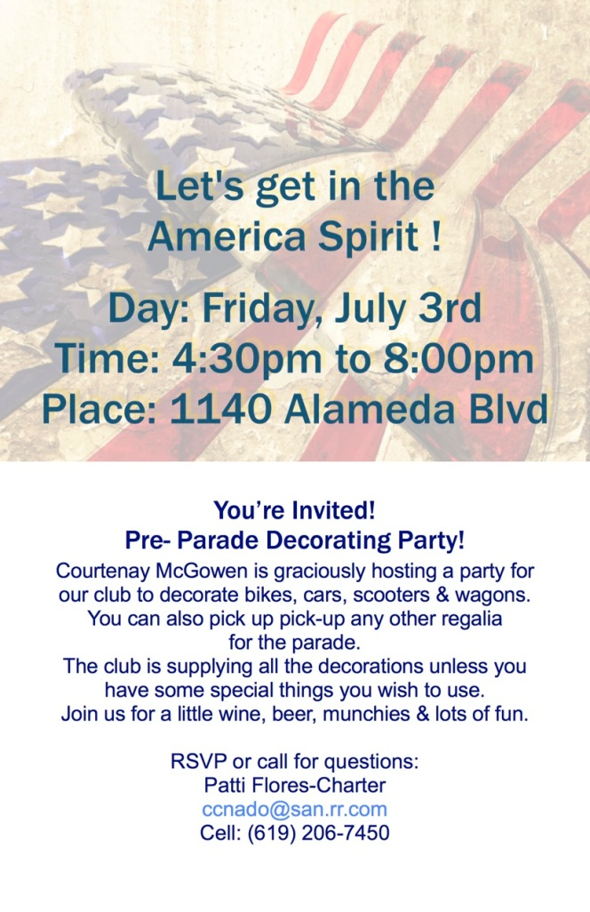 July 3 – You're Invited! Pre-Parade DecoratingParty!